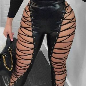 High Elastic Waist Lace Up Leather Pants